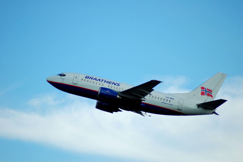 Braathens-fly tar av fra Oslo Lufthavn Gardermoen. (LN-BRK). Foto: Pål Stagnes
