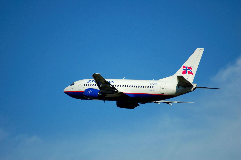SAS Braathens-fly tar av fra Oslo Lufthavn Gardermoen. (LN-BRO). Foto: Pål Stagnes