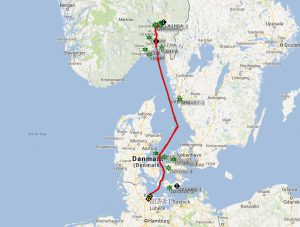APRS track of the tour with M/S Color Magic